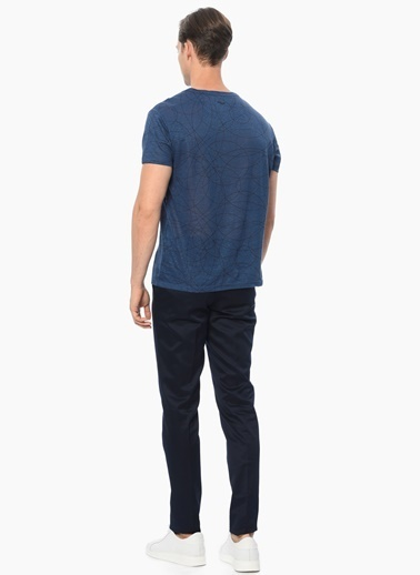 NetWork Slim Fit Baskılı Tişört İndigo